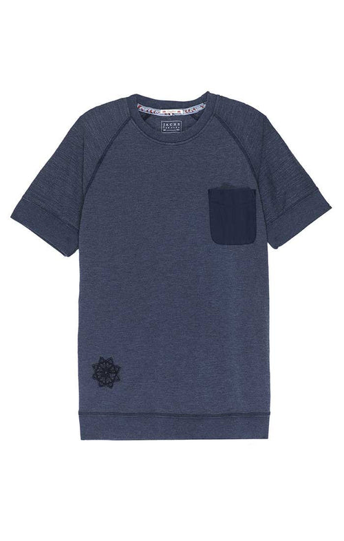 Indigo French Terry Raglan Tee