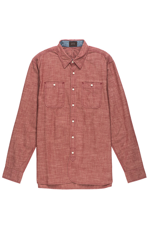 Red Slub Chambray Shirt