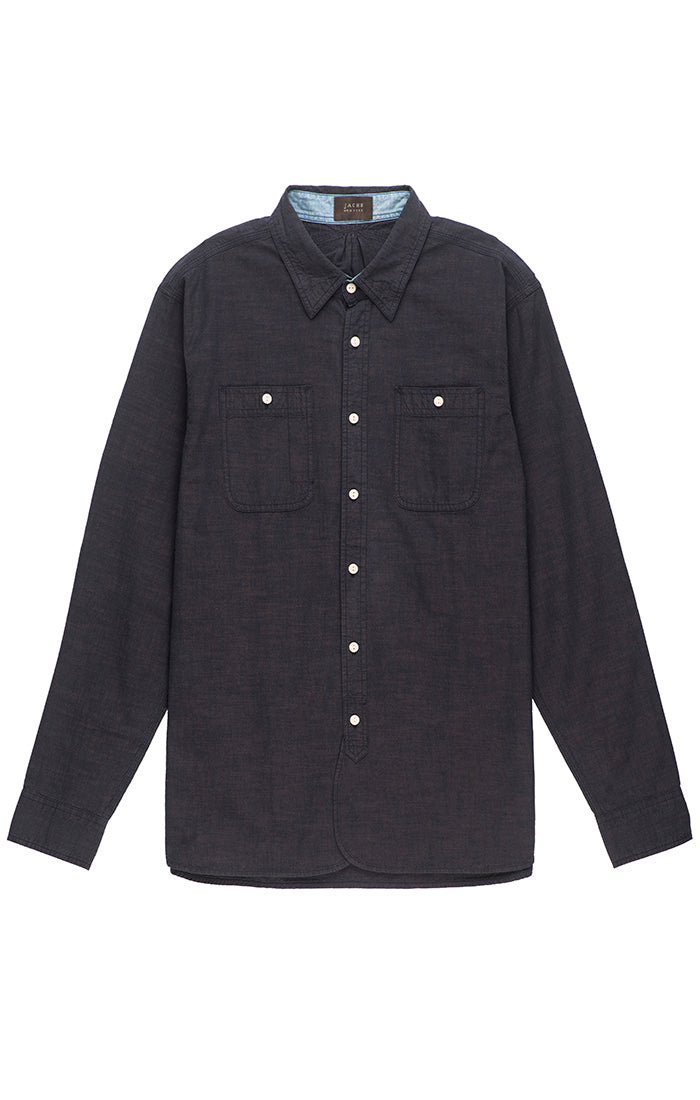 Dark Indigo Slub Chambray Button Up
