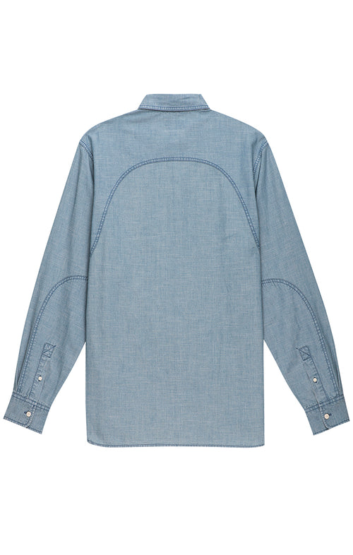 Blue Slub Chambray Button Down - jachs