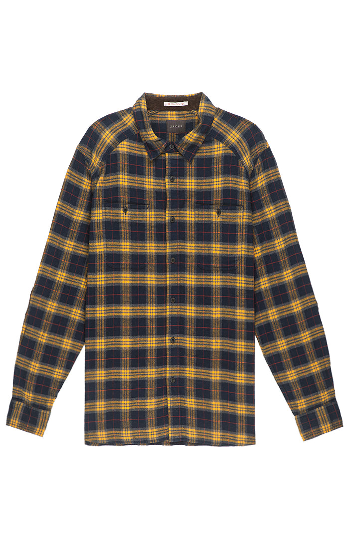 Navy And Yellow Plaid Flannel Shirt Jachs Ny