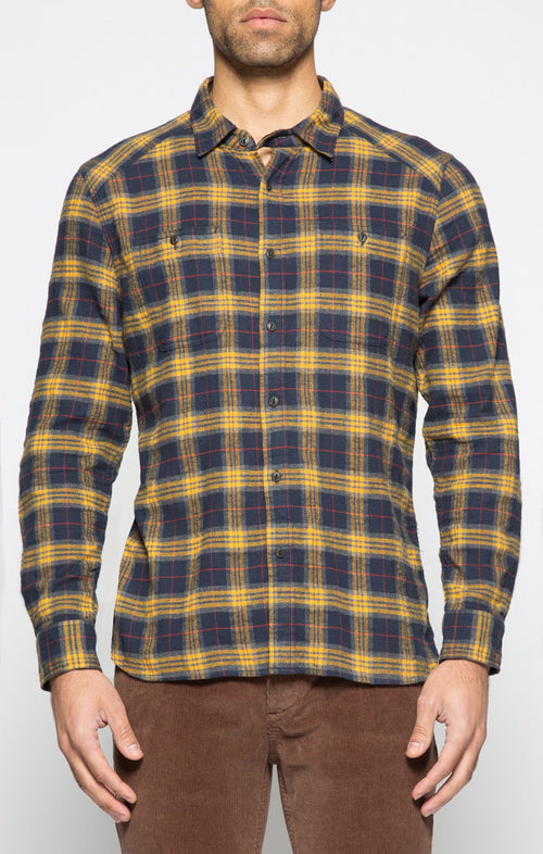Navy and Yellow Plaid Flannel Shirt