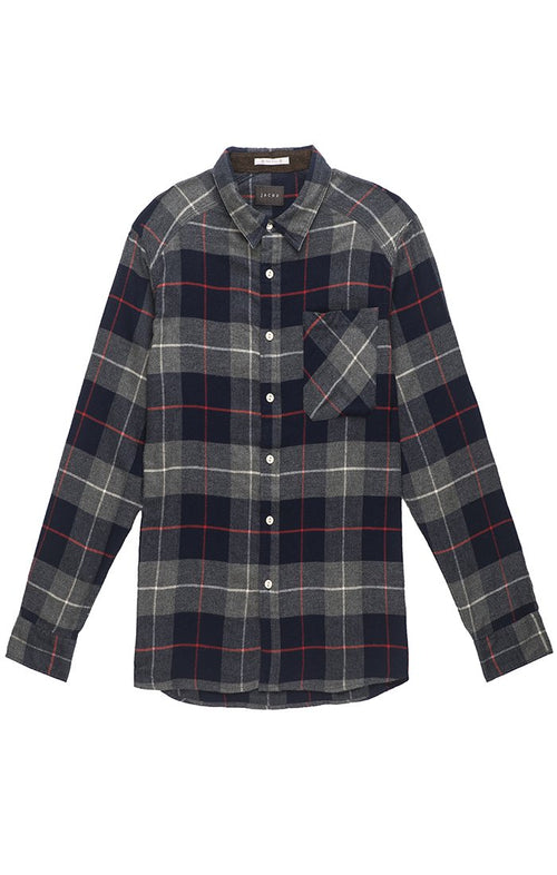 Navy and Grey Plaid Flannel Shirt - jachs