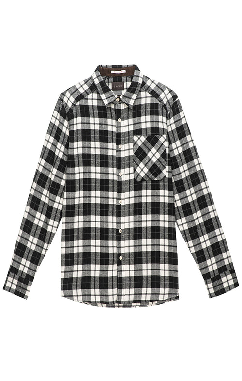 Black and White Plaid Flannel Shirt