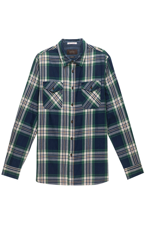 Green and Navy Plaid Button Down Shirt - jachs