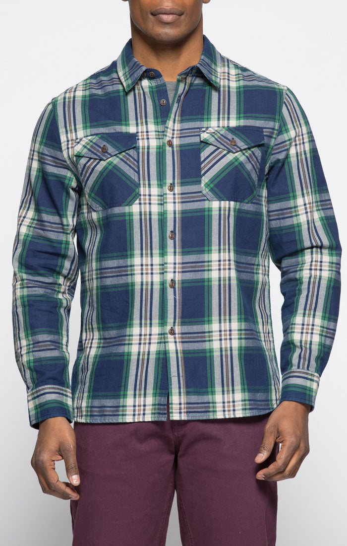 Green and Navy Plaid Button Down Shirt