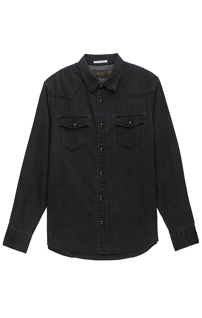 Black Denim Western Button Up