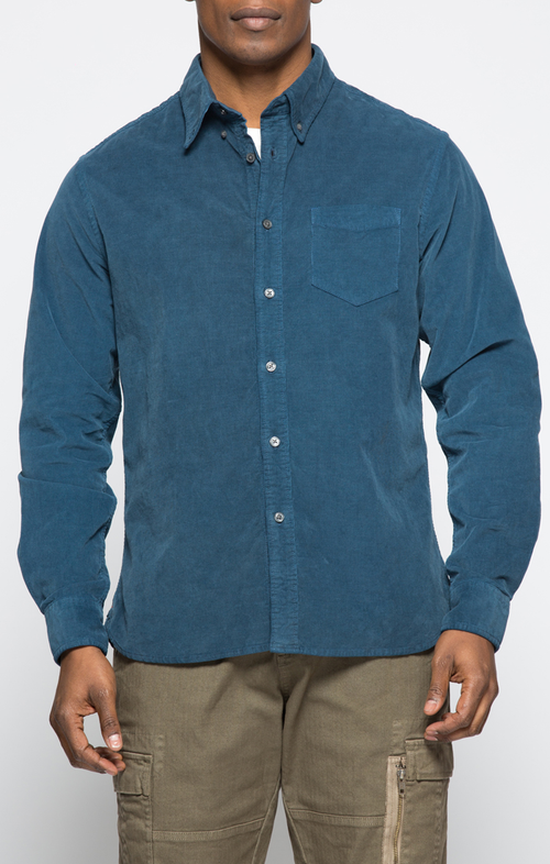 Navy Stretch Corduroy Shirt