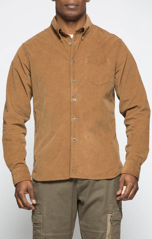 Caramel Stretch Corduroy Shirt