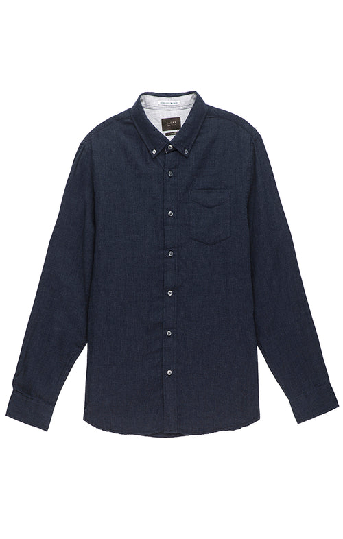 Navy Heathered Double Face Shirt