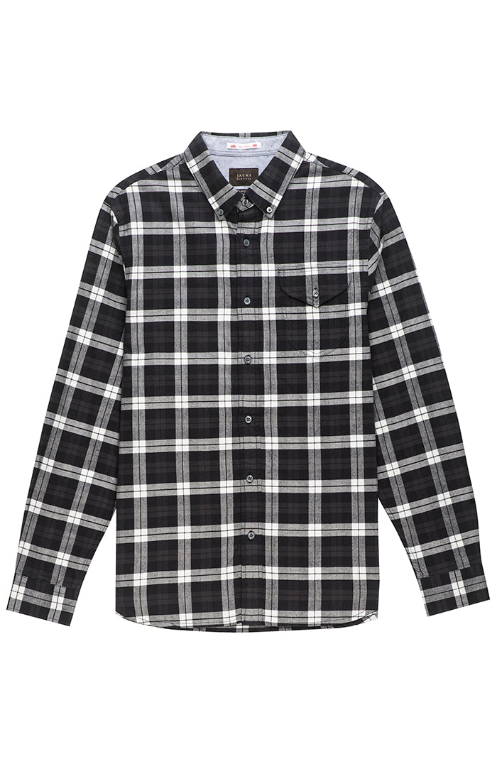 069f3b01635ccc Black and White Flannel Oxford Shirt – JACHS NY