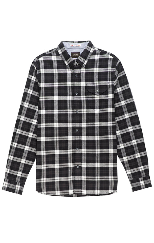 Black and White Flannel Oxford Shirt - jachs