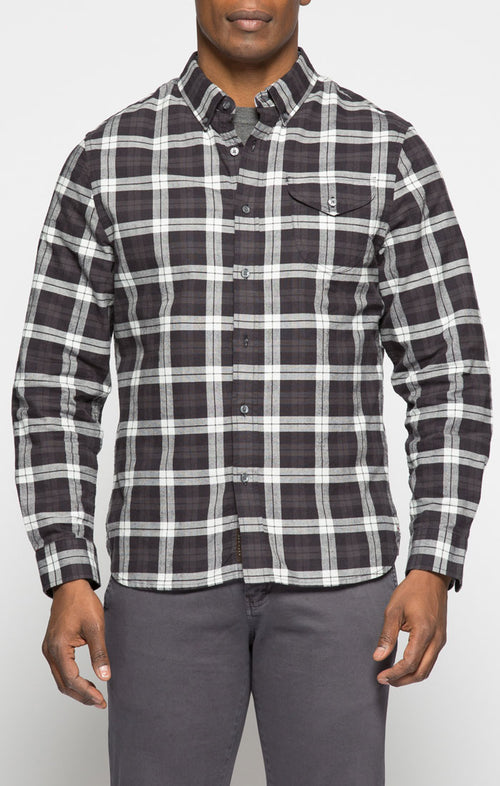 Black and White Flannel Oxford Shirt