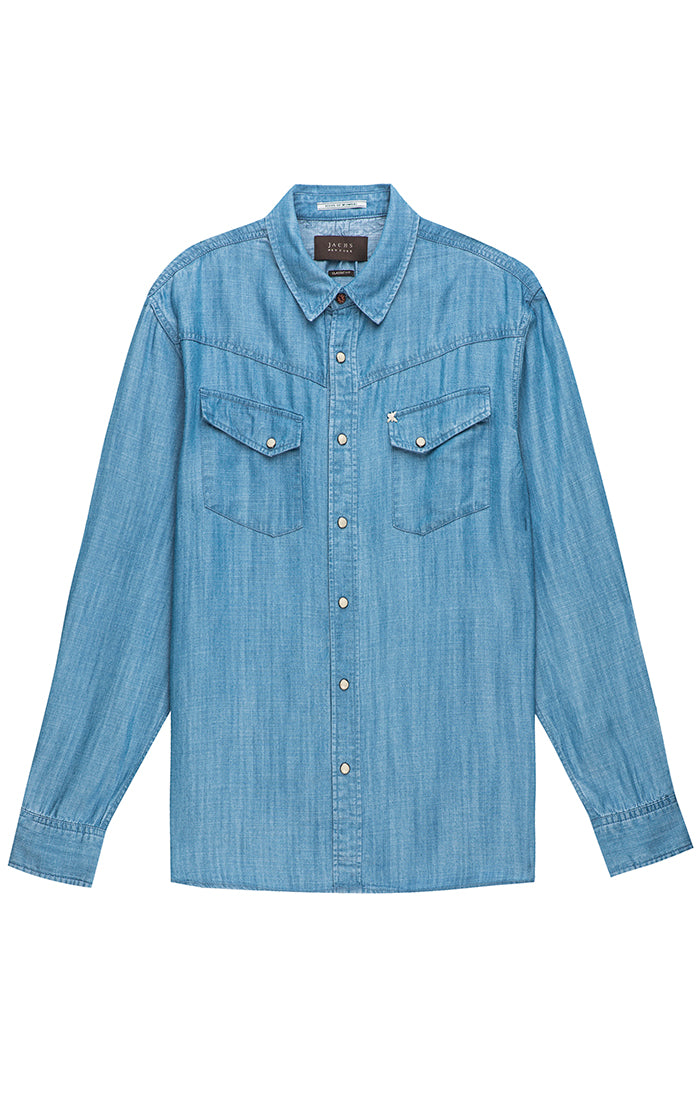 Light Indigo Denim Tencel Western Shirt