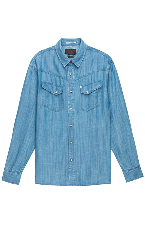 Light Indigo Denim Tencel Western Shirt - jachs