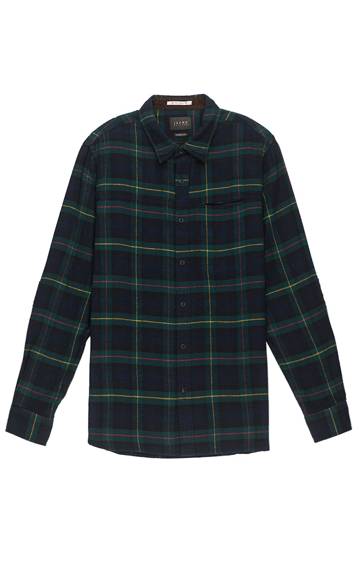 3bec8ad9b50 Green and Navy Plaid Flannel Shirt – JACHS NY