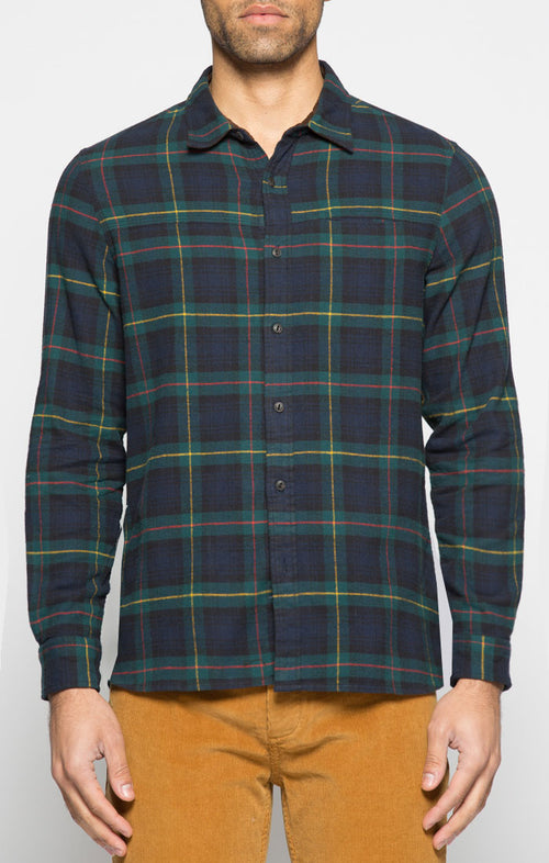 Green and Navy Plaid Flannel Shirt