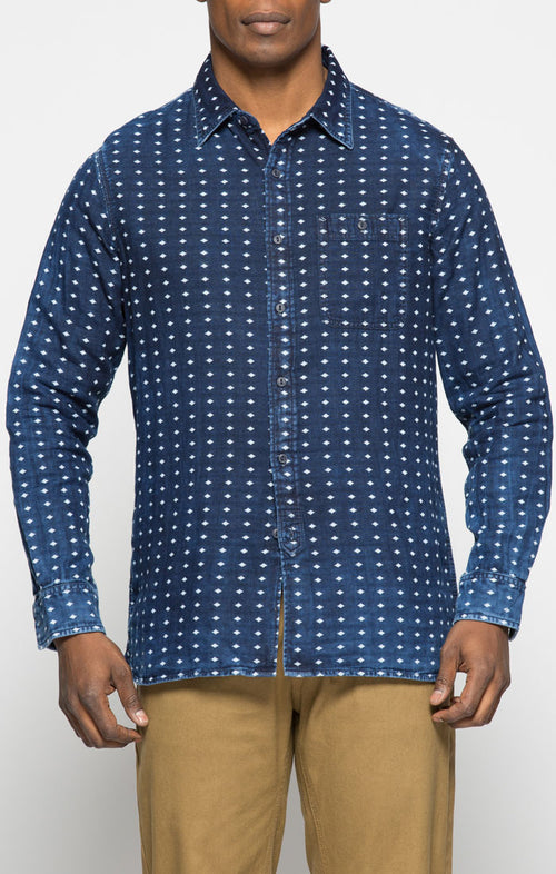 Indigo Jacquard Double Face Shirt