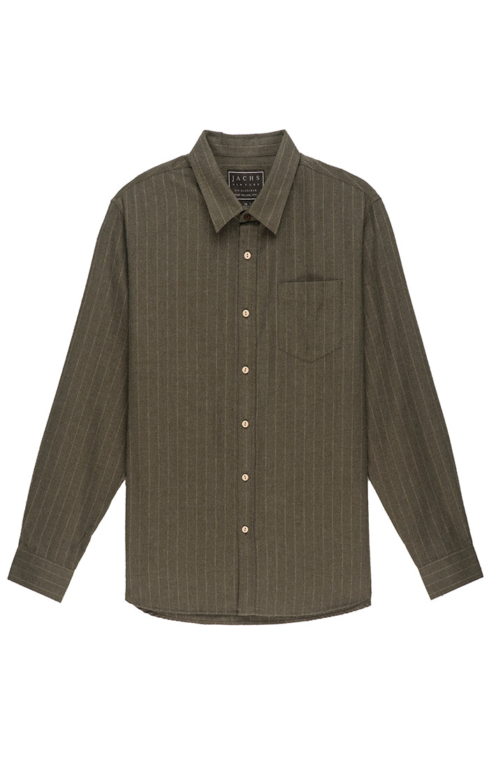 Olive Striped Light Flannel Shirt
