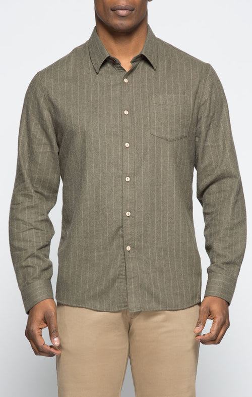 Olive Striped Light Flannel Shirt - jachs