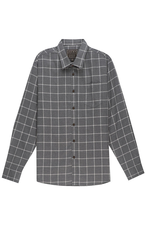Grey Windowpane Light Flannel Shirt - jachs