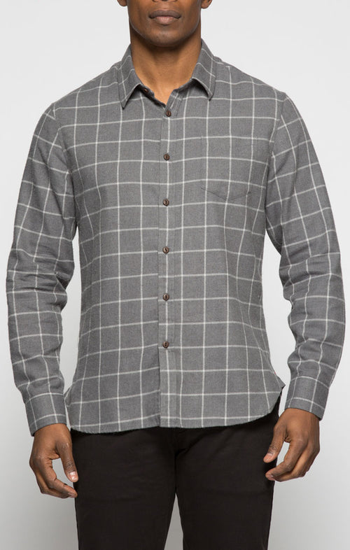 Grey Windowpane Light Flannel Shirt