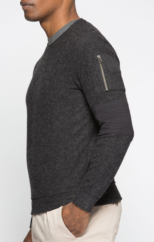 Heathered Fleece Moto Crewneck