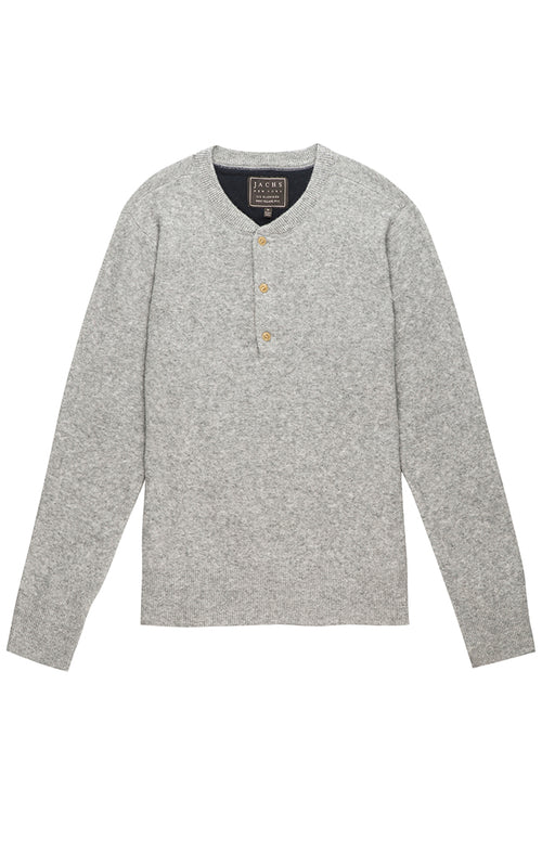 Grey Wool Blend Sweater Henley