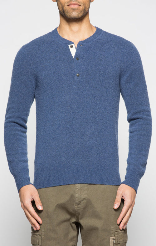 Navy Wool Blend Sweater Henley