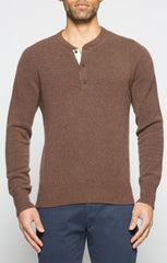 Brown Wool Blend Sweater Henley - jachs