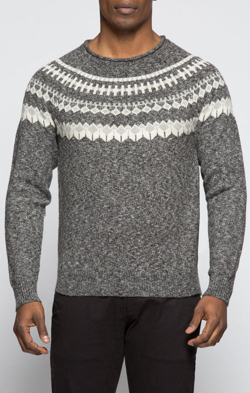 Melange Fair Isle Roll Neck Sweater