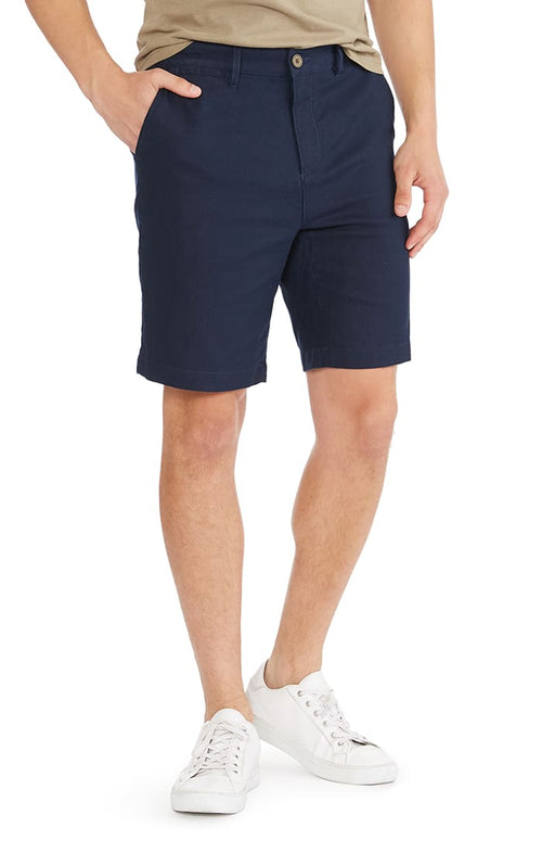 Navy Herringbone Cotton Linen Short