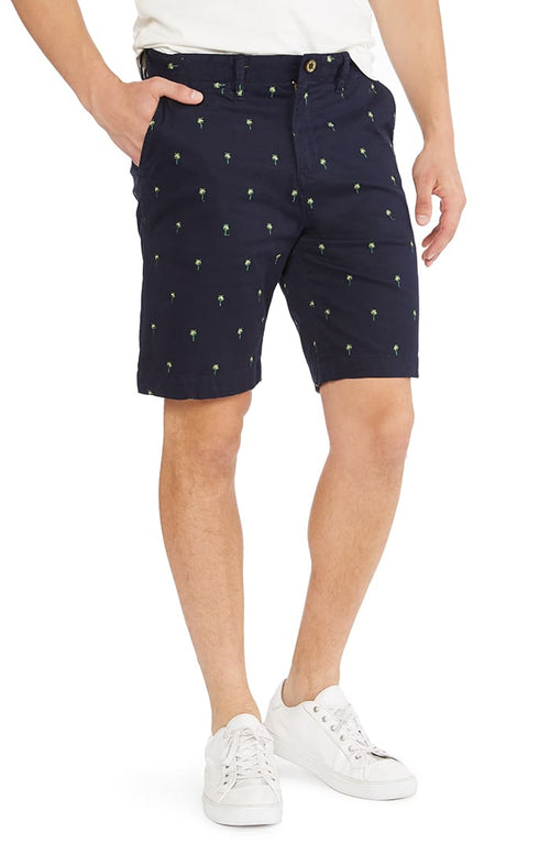 Navy Embroidered Stretch Chino Short