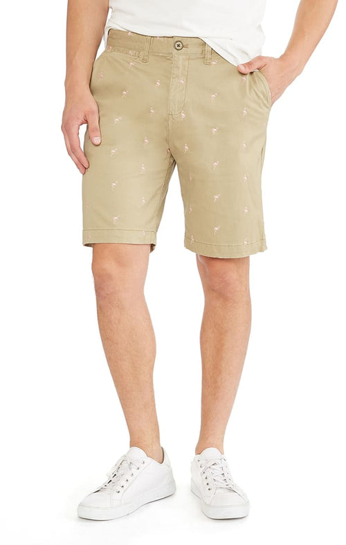 Tan Embroidered Stretch Chino Short