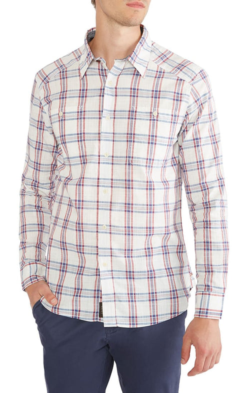 White Madras Plaid Button Down Shirt