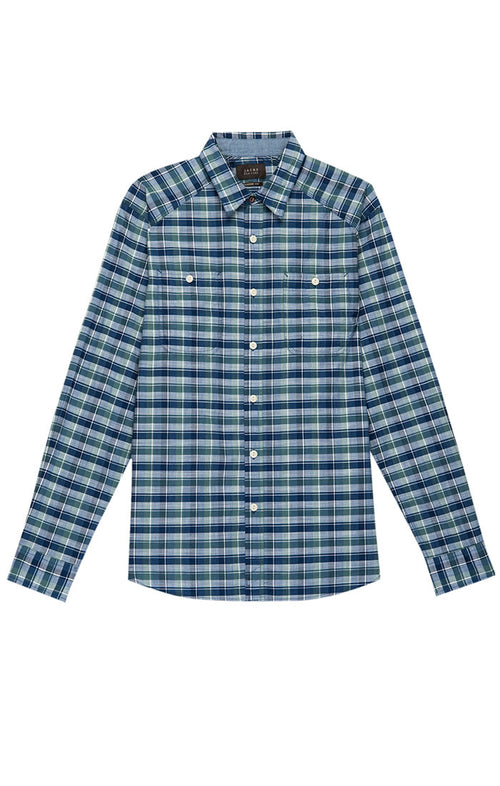 Navy Madras Plaid Button Down Shirt