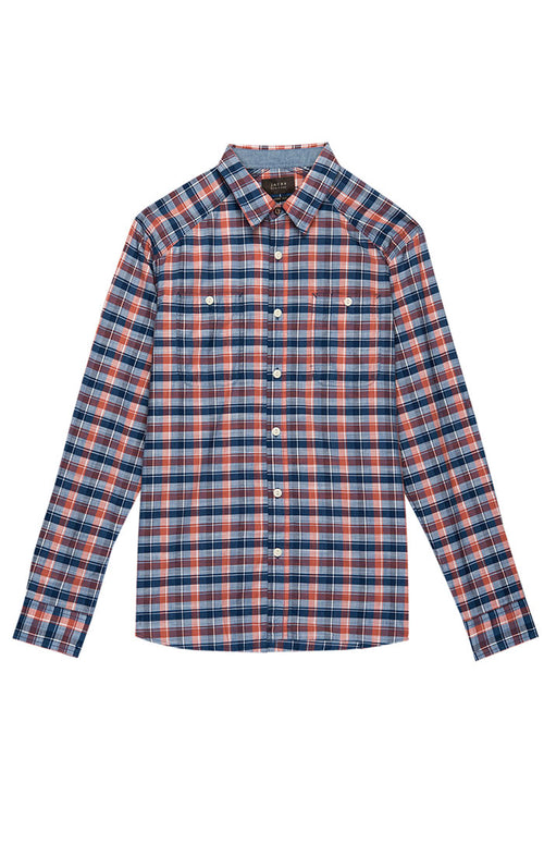Orange Madras Plaid Button Down Shirt