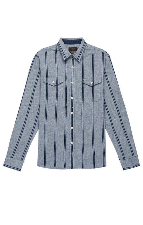 Grey Striped Basket Weave Shirt