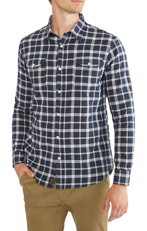 Navy Check Basket Weave Shirt