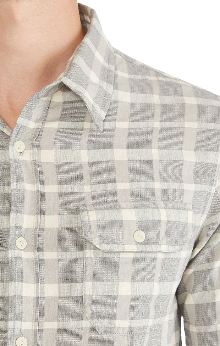 Grey Check Textured Chambray Shirt