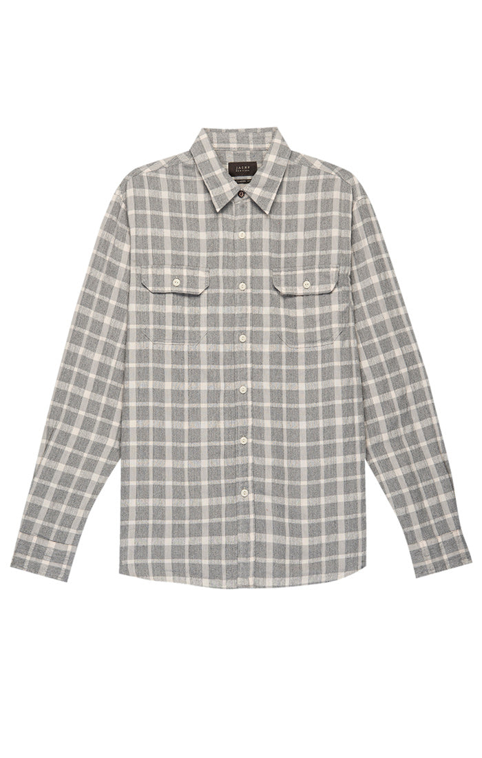 Grey Check Textured Chambray Shirt - jachs