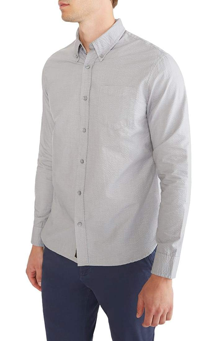 Grey Stretch Seersucker Shirt