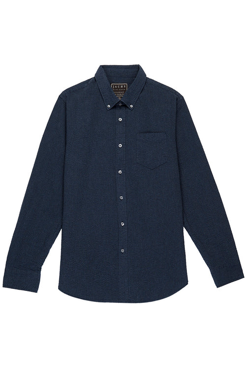 Navy Seersucker Shirt