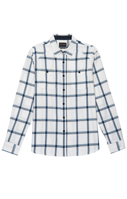 White Windowpane Basket Weave Shirt