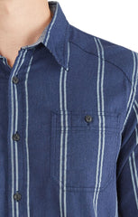 Navy Striped Textured Chambray Shirt