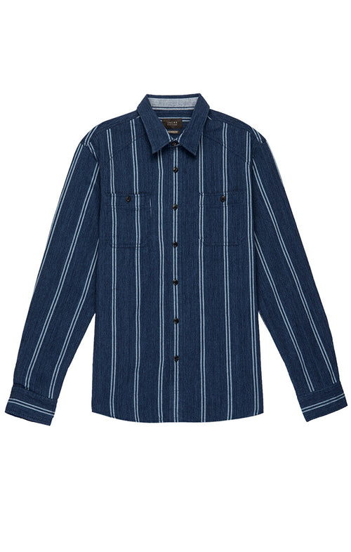 Navy Striped Basket Weave Shirt
