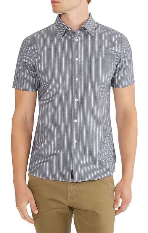 Striped Stretch Chambray Short Sleeve Shirt