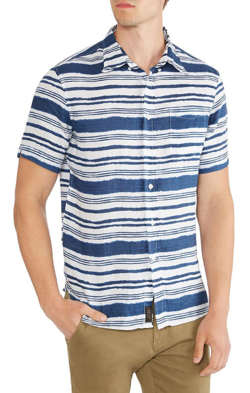 Striped Printed Linen Short Sleeve Shirt