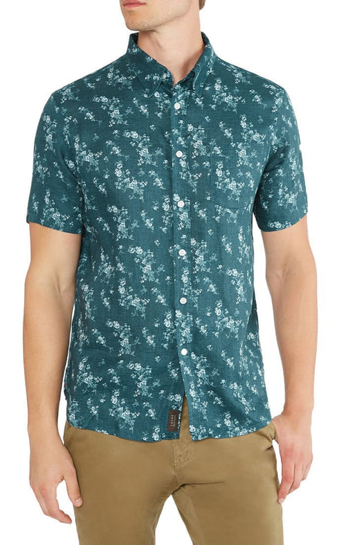 Floral Linen Short Sleeve Shirt