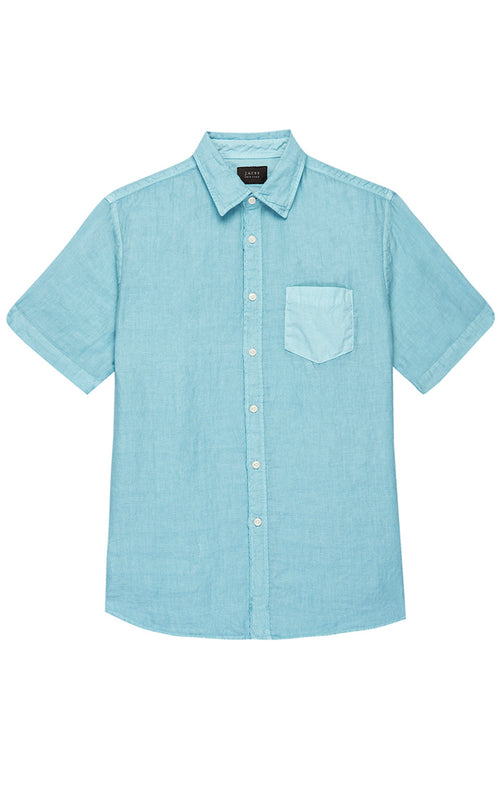 Blue Short Sleeve Linen Shirt